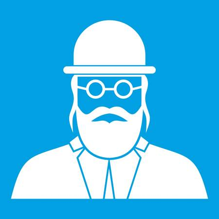 Orthodox jew icon white isolated on blue background vector illustration