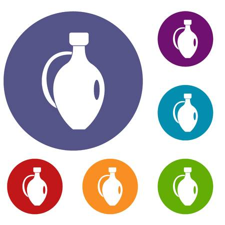 earthenware: Clay jug icons set