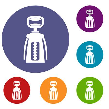 Modern corkscrew icons set in flat circle red, blue and green color for web Stock fotó - 82701395
