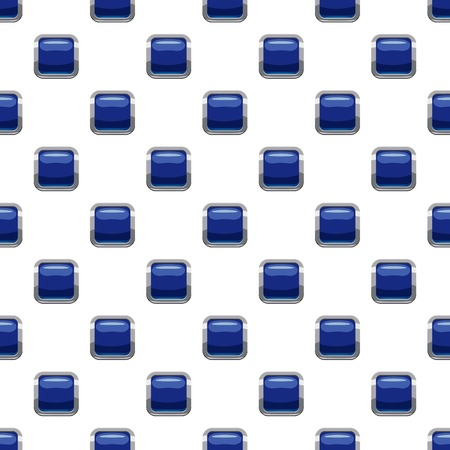rectangle button: Blue square button pattern seamless repeat in cartoon style vector illustration