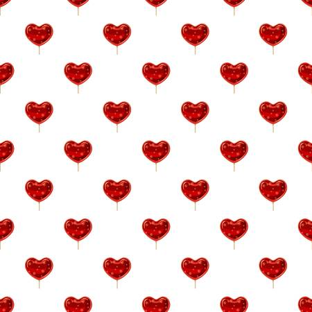hard: Red heart shaped lollipop pattern seamless repeat in cartoon style vector illustration