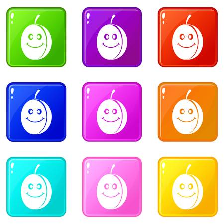 Fresh smiling plum icons of 9 color set isolated vector illustration