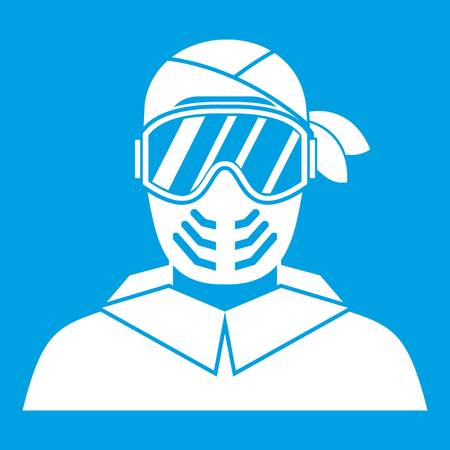 Paintball player wearing protective mask icon white isolated on blue background vector illustration