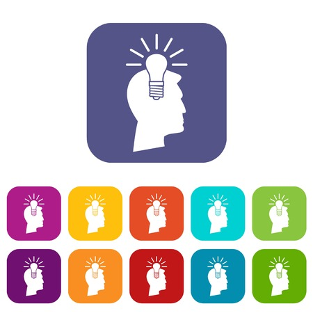 Light bulb idea icons set vector illustration in flat style in colors red, blue, green, and other Illustration