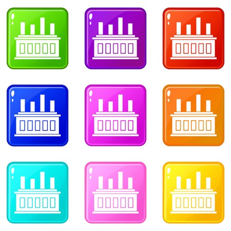 powerhouse: Industrial factory building icons of 9 color set isolated vector illustration