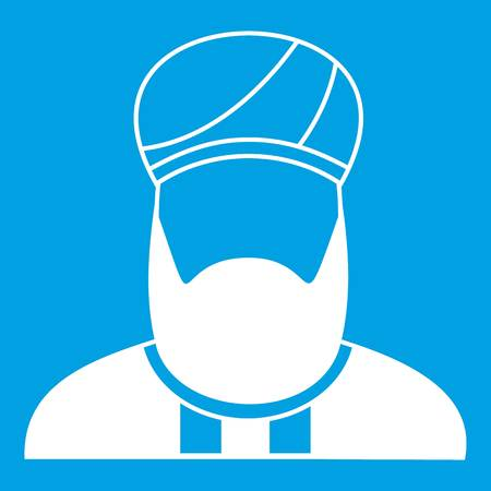 meditation man: Muslim preacher icon white isolated on blue background vector illustration