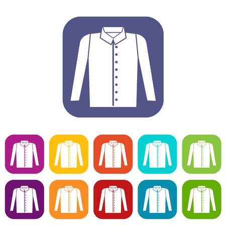 ironed: Shirt icons set vector illustration in flat style in colors red, blue, green, and other Illustration