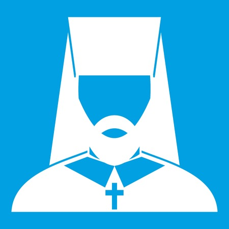 Orthodox priest icon white isolated on blue background vector illustration