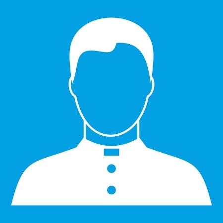 목사 아이콘 흰색 파란색 배경 벡터 일러스트 레이 션에서 절연