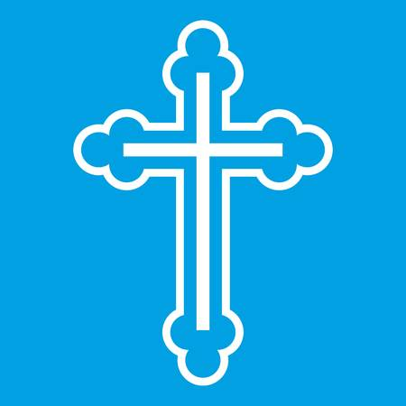Crucifix icon white isolated on blue background vector illustration Illustration