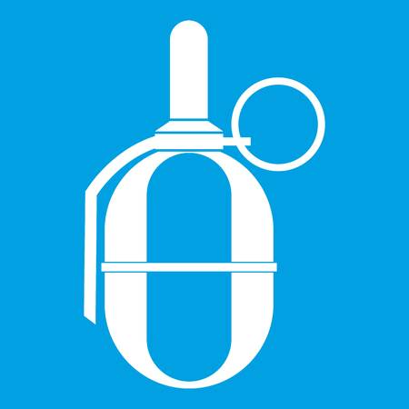 Hand paintball grenade icon white isolated on blue background vector illustration