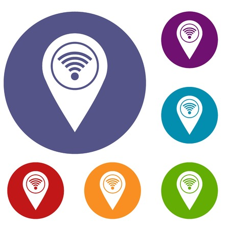wireless: Map pin pointer with wi fi symbol icons set in flat circle red, blue and green color for web
