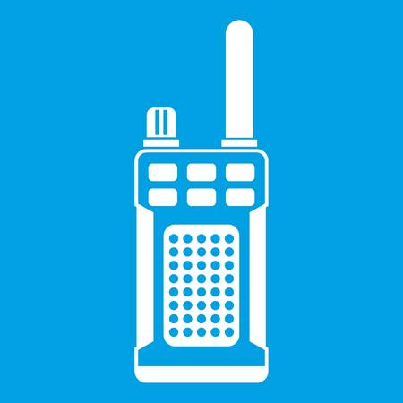 simplex: Portable handheld radio icon white isolated on blue background vector illustration Illustration
