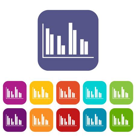 display: Financial analysis chart icons set vector illustration in flat style in colors red, blue, green, and other