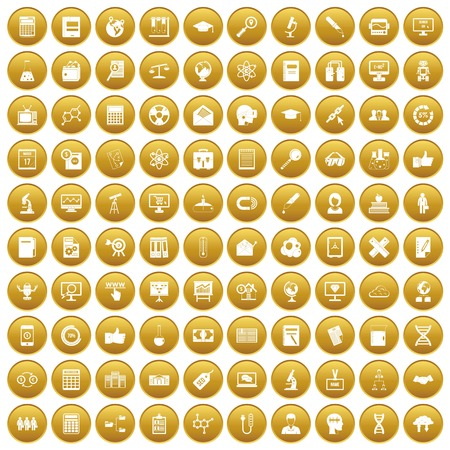 tactics: 100 analytics icons set gold