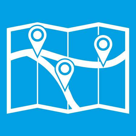 road position: Map with pin pointers icon white isolated on blue background vector illustration