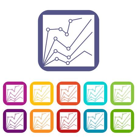 dashboard: Financial statistics icons set vector illustration in flat style in colors red, blue, green, and other