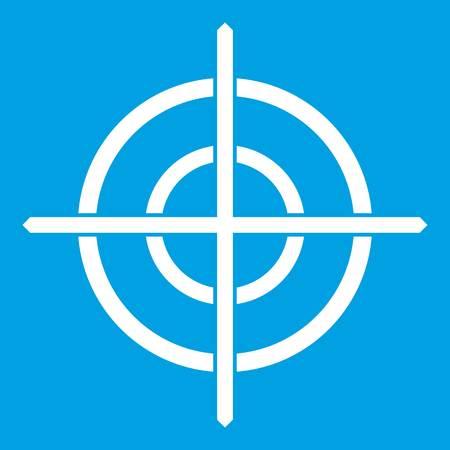 ターゲット十字アイコン白青色の背景ベクトル図に分離