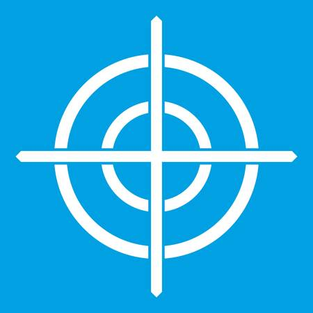 Target crosshair icon white isolated on blue background vector illustration Çizim