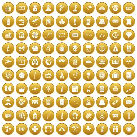 100 adult games icons set gold