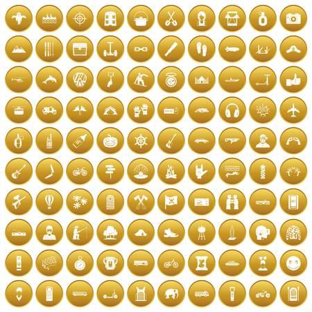 100 adventure icons set gold