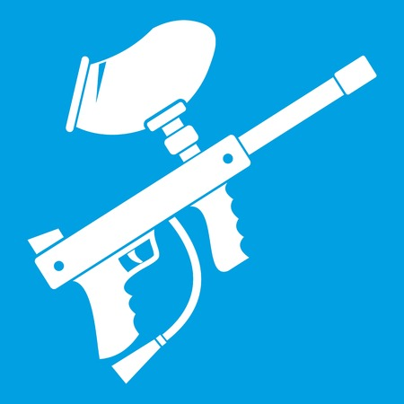 Paintball marker icon white isolated on blue background vector illustration