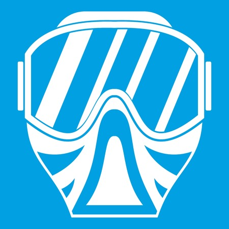 plastic soldier: Paintball mask icon white isolated on blue background vector illustration