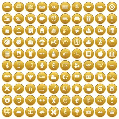 100 alarm clock icons set gold Illustration