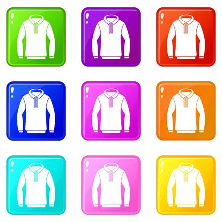 Hoody icons of 9 color set isolated vector illustration