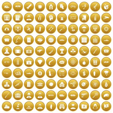 100 antiterrorism icons set gold