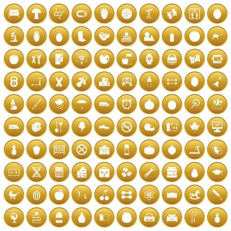 100 apple icons set gold