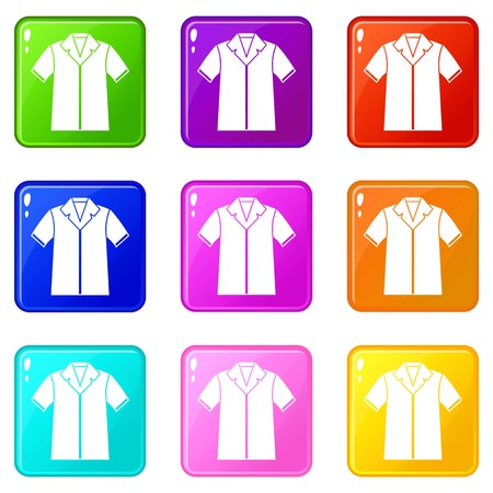 pocket size: Shirt polo icons of 9 color set isolated vector illustration
