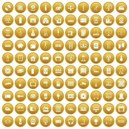 100 appliances icons set gold