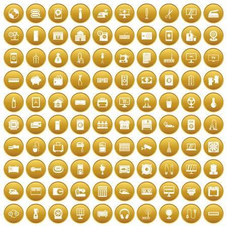100 appliances icons set gold