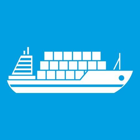 Cargo ship icon white isolated on blue background vector illustration