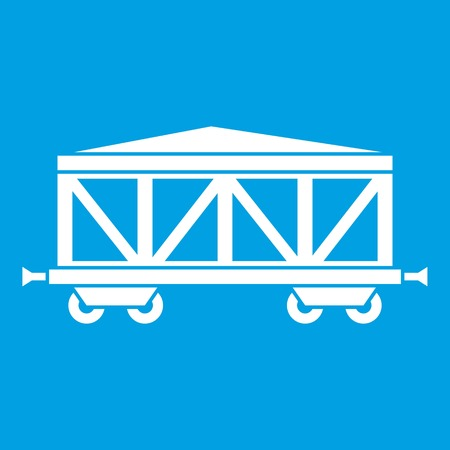 Train cargo wagon icon white isolated on blue background vector illustration