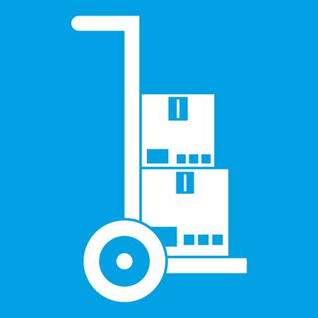 delivery truck: Hand cart with cardboards icon white isolated on blue background vector illustration