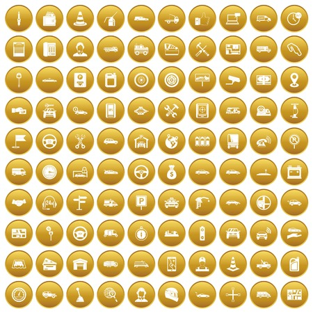 100 auto icons set gold Illustration