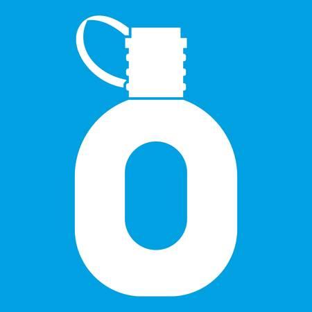 Tourist flask icon white isolated on blue background vector illustration Illustration