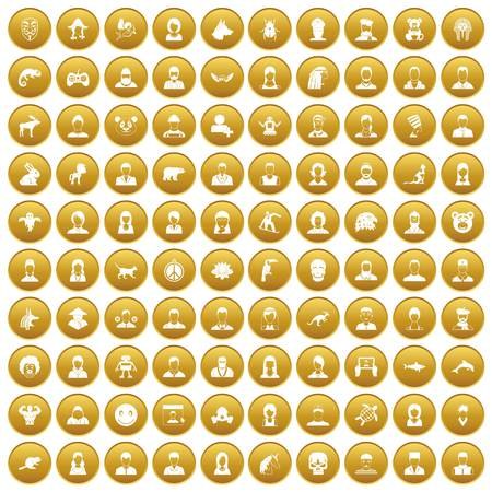 100 avatar icons set gold
