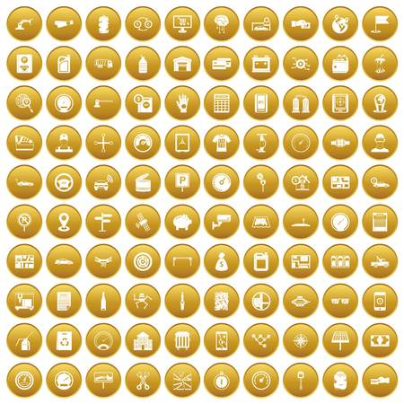 100 auto repair icons set gold