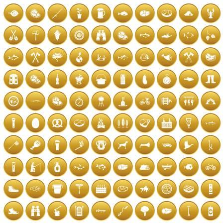 100 BBQ icons set gold