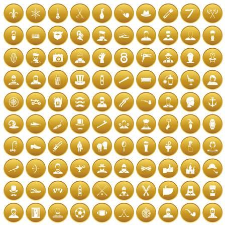 100 beard icons set gold