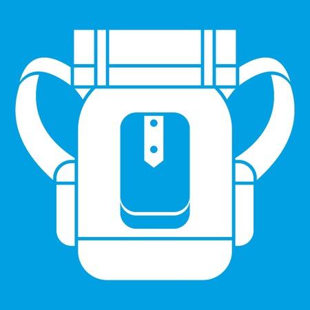 Sleeping bag icon white isolated on blue background vector illustration