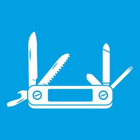 Pocket flashlight icon white isolated on blue background vector illustration Illustration