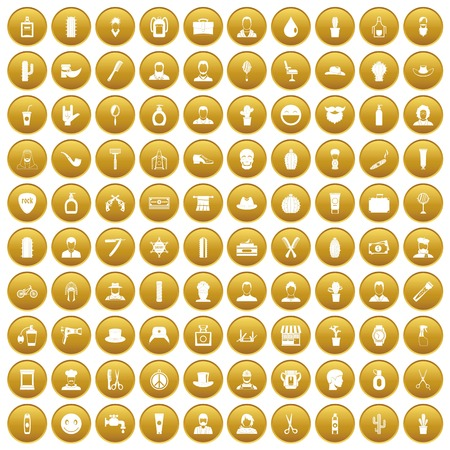 100 barber icons set in gold circle isolated on white vector illustration