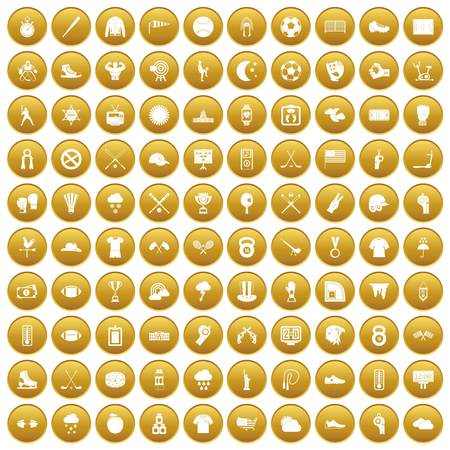 100 baseball icons set in gold circle isolated on white vector illustration