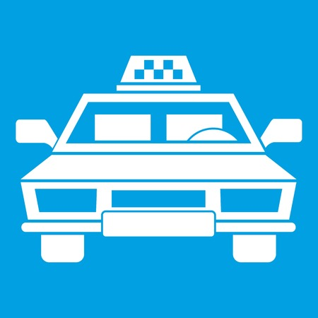 Taxi car icon white isolated on blue background vector illustration