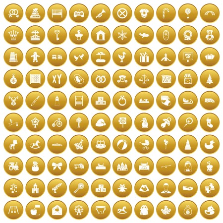 100 baby icons set in gold circle isolated on white vector illustration