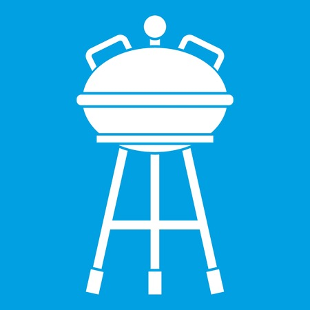 appliances: Kettle barbecue icon white isolated on blue background vector illustration